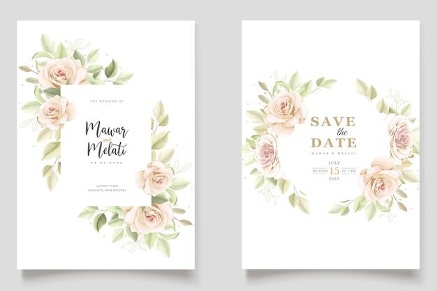 Elegante conjunto de tarjetas de invitación rosas dibujadas a mano