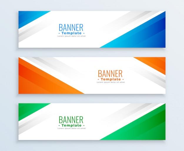 Elegante conjunto de tres pancartas en diferentes colores.