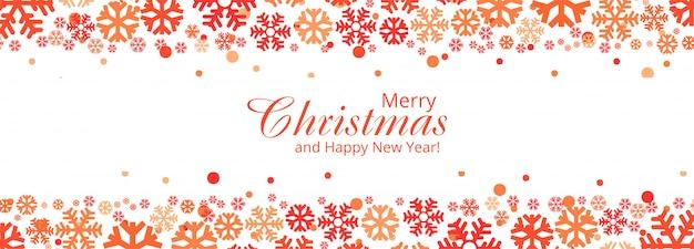 Elegante copos de nieve decorativos feliz navidad tarjeta banner