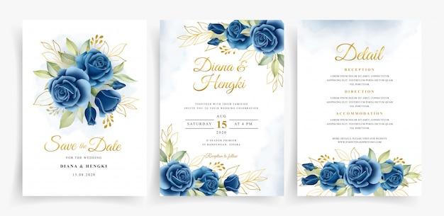 Elegante corona floral acuarela en plantilla de tarjeta de invitación de boda set