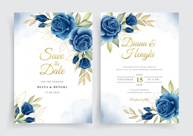 Elegante corona floral acuarela en plantilla de tarjeta de invitación de boda