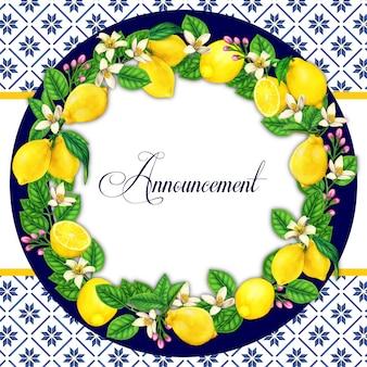 Elegante corona de limón acuarela con fondo de patrón mediterráneo