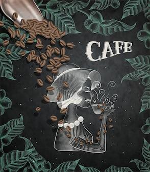 Elegante dama bebiendo café, estilo de grabado hojas y marco de cerezas de café sobre fondo de pizarra, pala de café en la ilustración