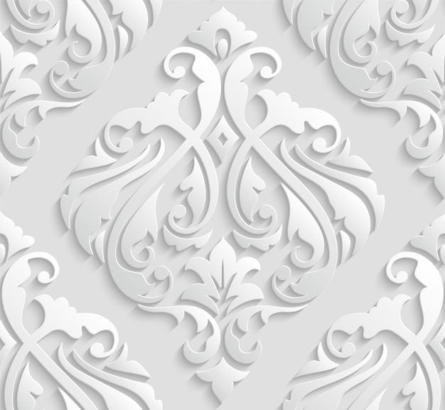 Elegante damasco blanco 3d de patrones sin fisuras