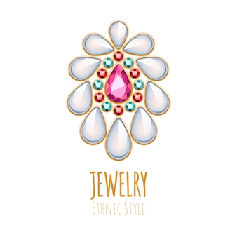 Elegante decoración de joyas de piedras preciosas. viñeta étnica. bueno para el logotipo de la joyería de moda.