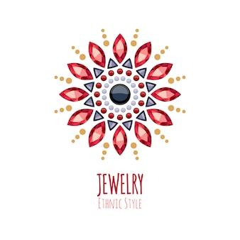 Elegante decoración de joyas de piedras preciosas. viñetas florales étnicas. bueno para el logotipo de la joyería de moda.