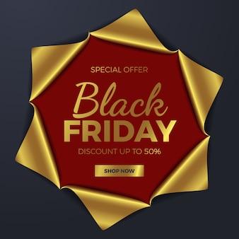 Elegante deformación de papel dorado rasgada en el centro para la plantilla de banner de oferta de venta de choque de viernes negro