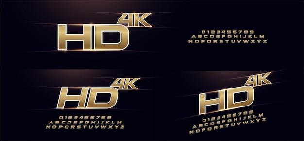 Elegante deporte oro 3d fuente de alfabeto de metal cromado