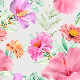 Elegante dibujado a mano floral y hojas de patrones sin fisuras