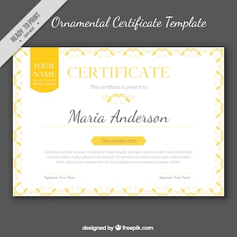 Elegante diploma con ornamentos dorados