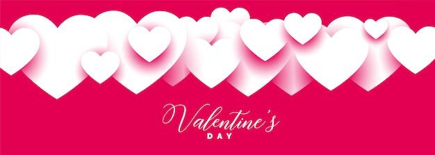 Elegante diseño de banner ancho del día de san valentín rosa