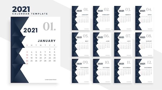 Elegante diseño de calendario moderno 2021 en blanco y negro