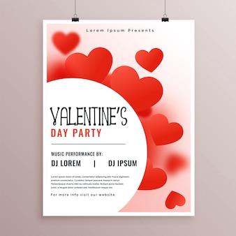 Elegante diseño de flyer fiesta de san valentín