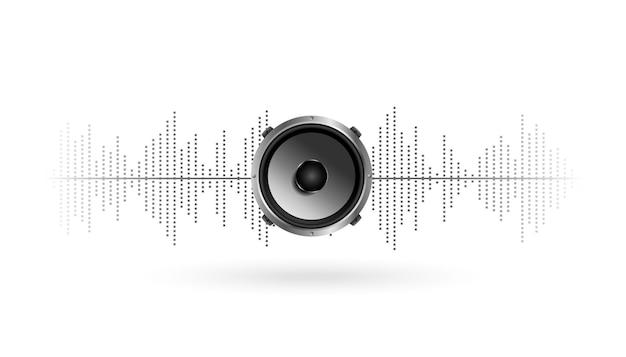 Elegante diseño de fondo de ecualizador y altavoz de música