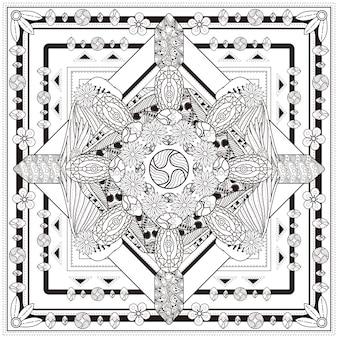 Elegante diseño de fondo mandala con elementos florales