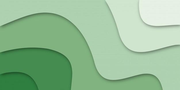 Elegante diseño de formas onduladas. verde abstracto.