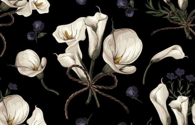 Elegante diseño inconsútil de flores rústicas en tonos rubor
