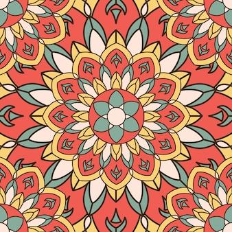 Elegante diseño inconsútil con mandala y elementos florales.
