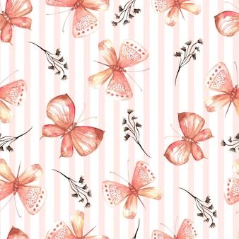 Elegante diseño inconsútil de mariposas acuarelas