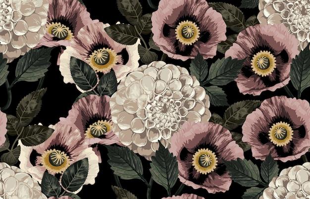 Elegante diseño inconsútil de rosas rústicas en tonos rubor