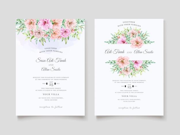 Elegante diseño de invitación de boda floral acuarela