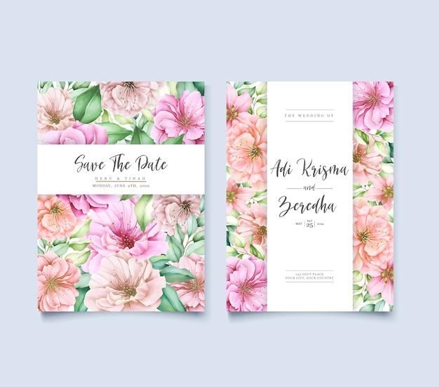 Elegante diseño de invitación de boda de fondo con flores y hojas
