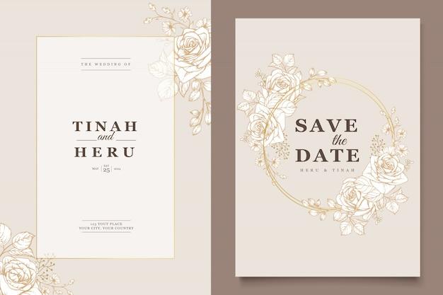 Elegante diseño de invitación de boda con motivos florales.