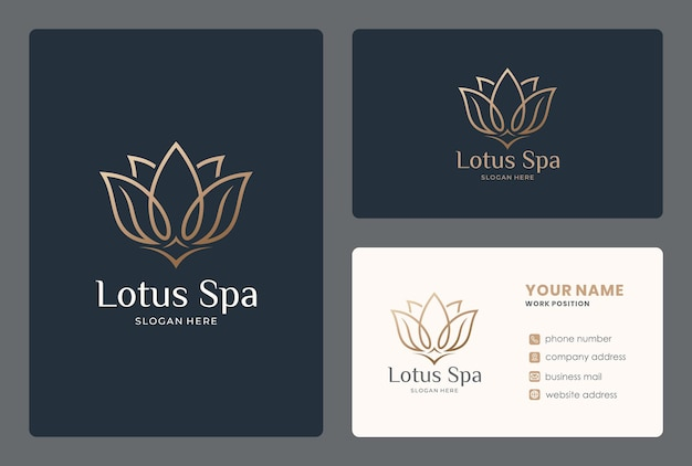 Elegante diseño de logo de lotus con tarjeta de visita.