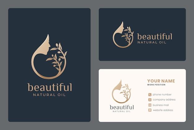 Elegante diseño de logotipo de aceite de oliva / rostro de mujer con plantilla de tarjeta de visita.
