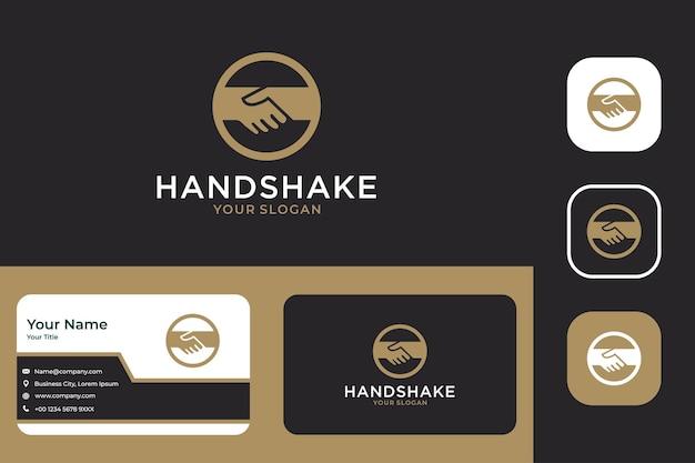 Elegante diseño de logotipo de apretón de manos y tarjeta de visita.