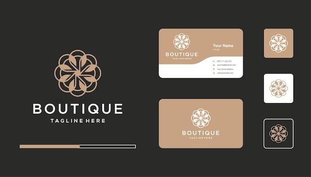 Elegante diseño de logotipo de boutique, plantilla de tarjeta de visita de icono