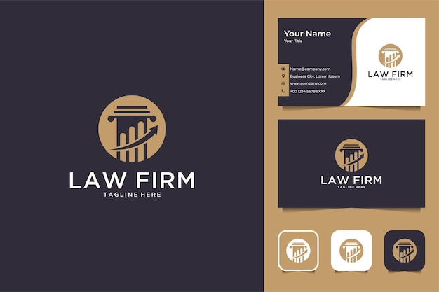 Elegante diseño de logotipo de bufete de abogados y tarjeta de visita.