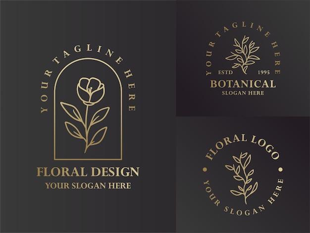 Elegante diseño de logotipo floral y botánico monoline negro y dorado
