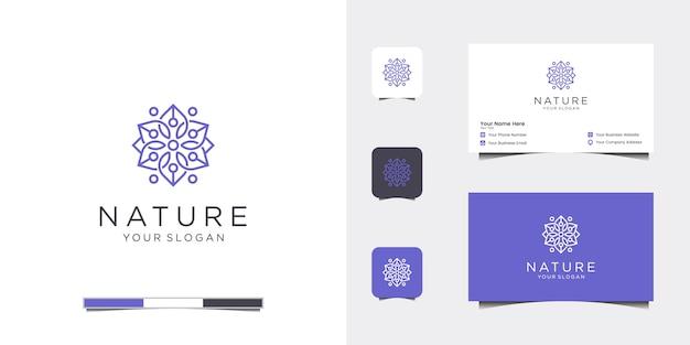 Elegante diseño de logotipo de flores línea arte y tarjeta de visita