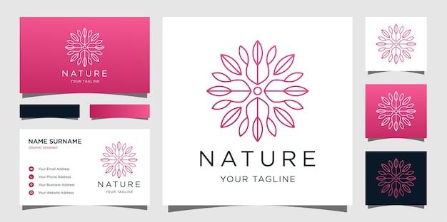 Elegante diseño de logotipo de flores con tarjetas de visita.