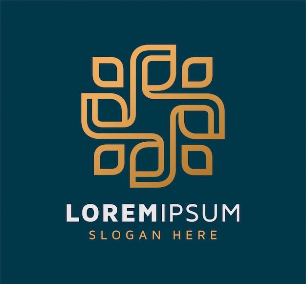 Elegante diseño de logotipo de hoja moderna monoline