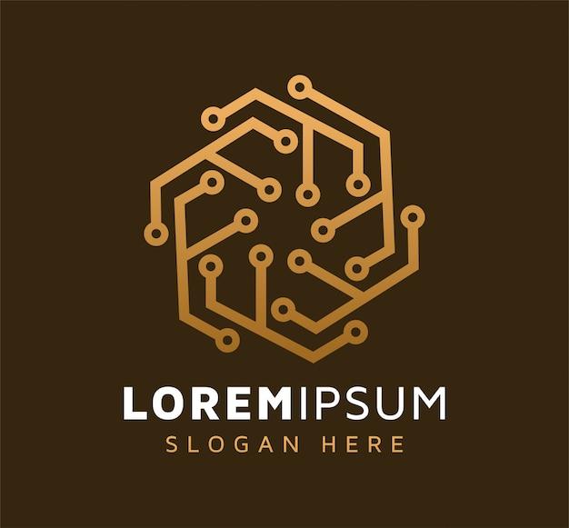Elegante diseño de logotipo de tecnología abstracta monoline