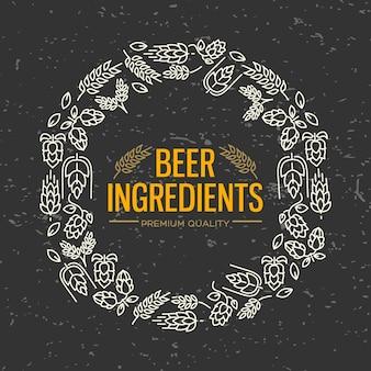 Elegante diseño con marco figurado con iconos blancos de flores, ramitas de lúpulo, flor, malta alrededor del texto ingredientes de cerveza en el centro sobre el negro