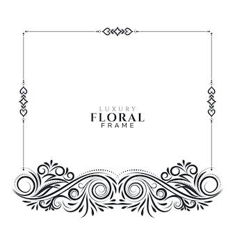 Elegante diseño de marco floral hermoso