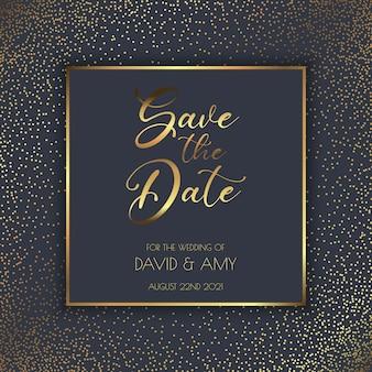 Elegante diseño en oro y negro para guardar la invitación de la fecha