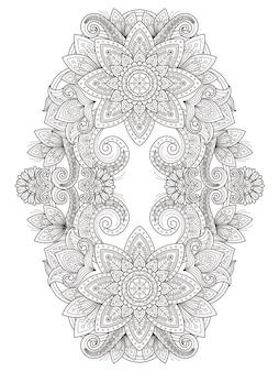 Elegante diseño de página para colorear de flores en una línea exquisita