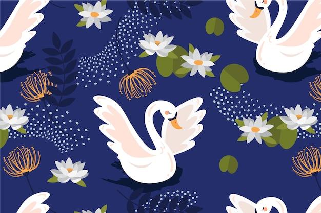 Elegante diseño de patrón de cisne
