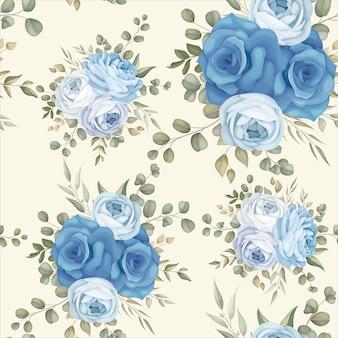 Elegante diseño de patrones sin fisuras azul floral