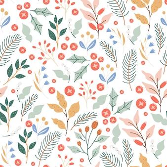 Elegante diseño de patrones sin fisuras de follaje de invierno de navidad.