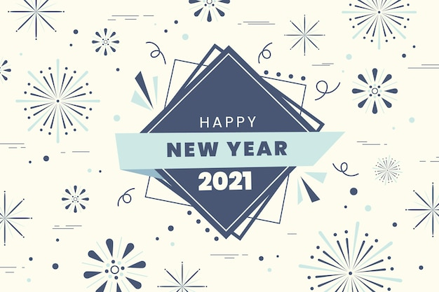 Elegante diseño plano de fuegos artificiales feliz año nuevo 2021