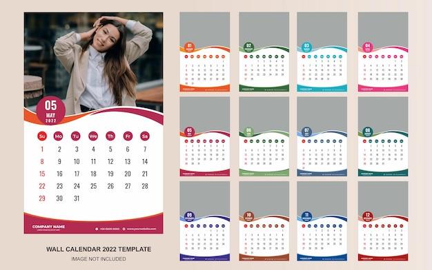 Elegante diseño de plantilla de calendario de pared 2022