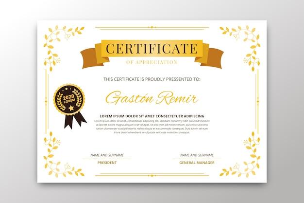Elegante diseño de plantilla de certificado