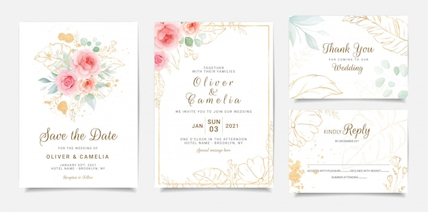 Elegante diseño de plantilla de invitación de boda de flores de durazno rosa y hojas de oro