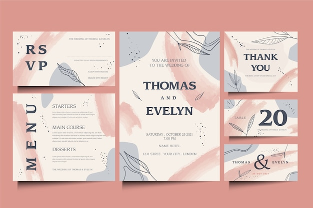 Elegante diseño de plantilla de papelería de boda