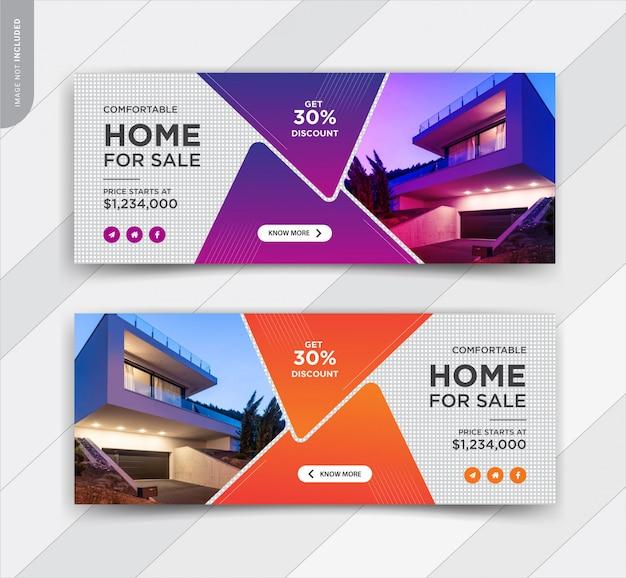 Elegante diseño de plantilla de portada de facebook de bienes raíces o venta de casas